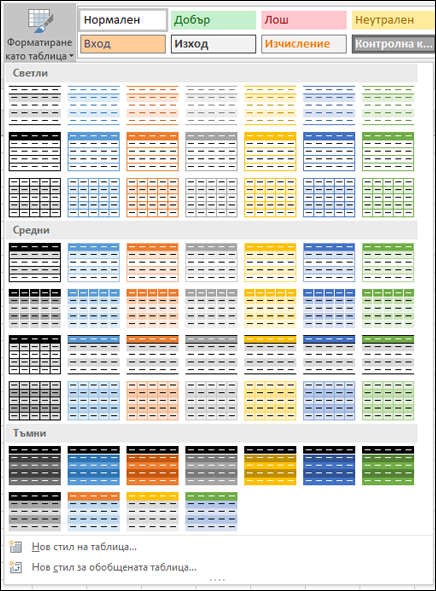 Галерия със стилове за таблица на Excel