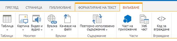 Снимка на екрана на раздела ''Вмъкване'', който съдържа бутони за вмъкване на таблици, видео, графики и връзки във вашите страници на сайт