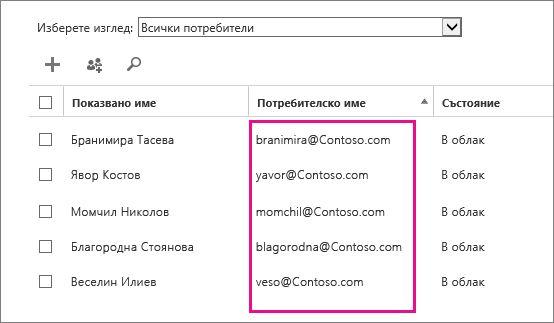 """Колоната """"Потребителско име"""" в центъра за администриране на Office 365."""