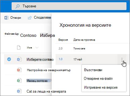 Екранна снимка на възстановяване на файлове в OneDrive за бизнеса от хронологията на версиите в екрана с подробности в модерен опит