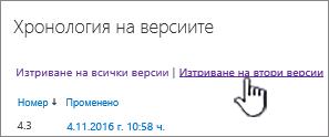 Диалогов прозорец версия с изтриване на втори версии осветена