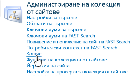 Раздел за администратор на колекция от сайтове на SharePoint 2010 с Кошче осветената