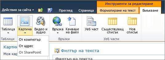 """Щракнете върху бутона """"картина"""" в лентата и изберете от компютър, адрес или SharePoint."""