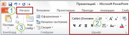 Пример за лентата на PowerPoint. Елементи.