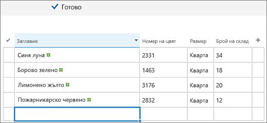 Бързо редактиране на екрана с данни, добавени и колони