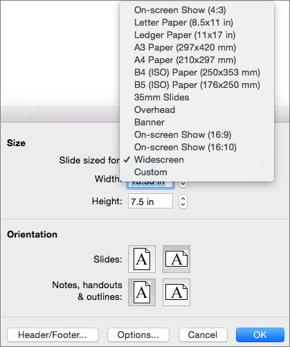 Прозорец за настройка на страниците с опции за размер на слайда