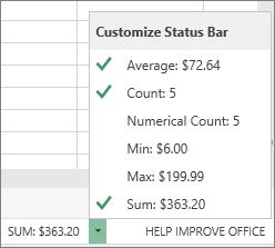 Status bar options
