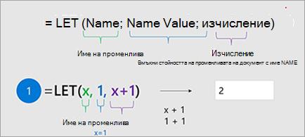 Показва функцията LET в Excel