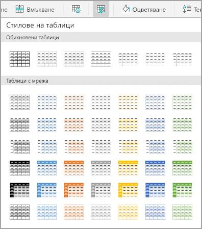 Шаблони на таблици за Android