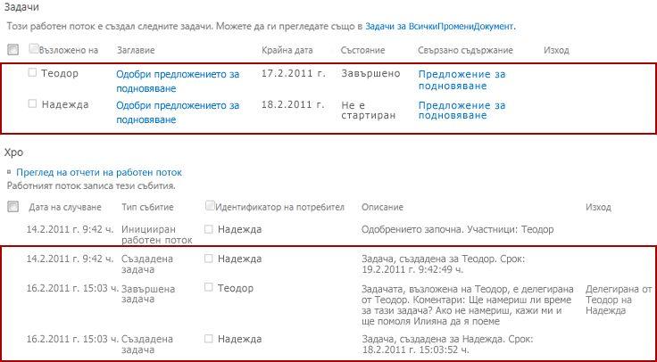 Области ''Задачи'' и ''Хронология'' на страницата ''Състояние на работния поток'' за повторно възложена задача