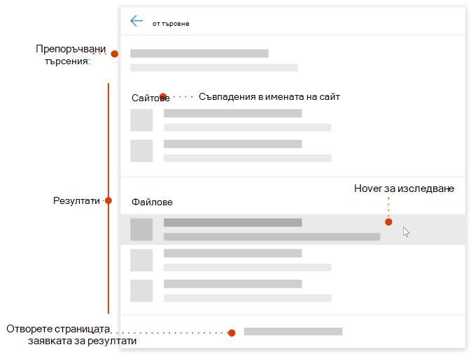Екранна снимка на полето за търсене на модерен с указатели към елементи за изследване