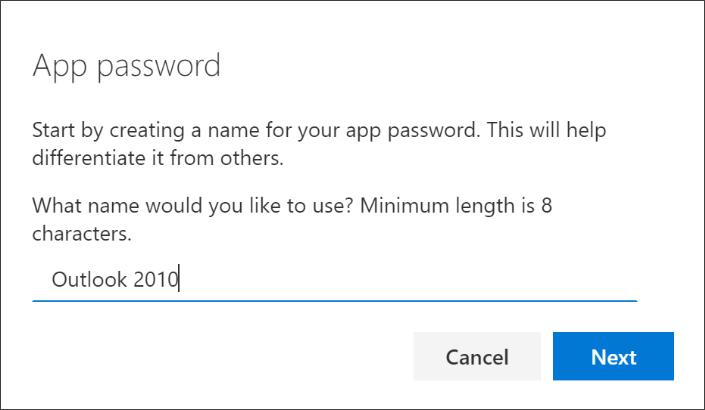 """Екранна снимка, която показва страницата """"Парола за приложение"""", с въведеното име на приложението"""