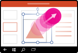 Жест за преоразмеряване на фигура в PowerPoint за Windows Mobile