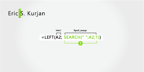 Формула за разделяне на собствено и фамилно име, плюс среден инициал
