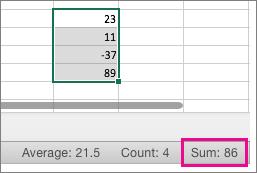Изберете колона с числа, за да видите сумата в долната част на страницата