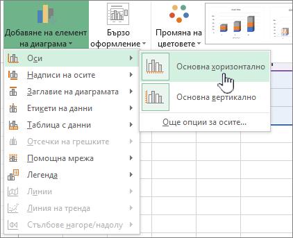 Добавяне на елемент на секция с осветена оси