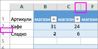 Двойна лента в заглавките на колоните или редовете указва наличието на скрити колони или редове
