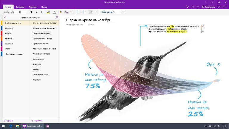 Екранна снимка на OneNote за Windows 10