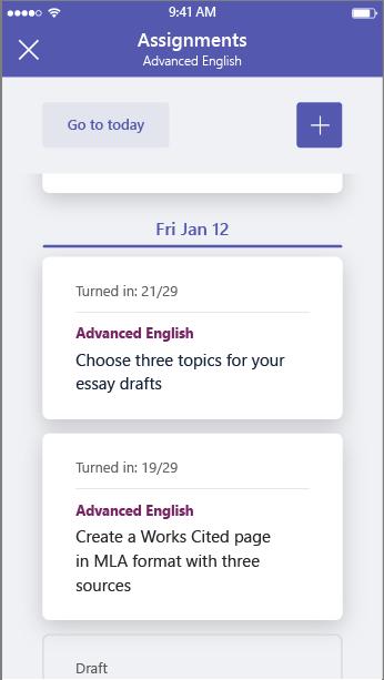 Докоснете бутона Добави, за да създадете нова задача в мобилното приложение на Microsoft екипи.