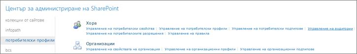 Управление на аудитории връзка на страницата за потребителски профили