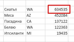 Таблица с имена на градове, държави и брой население. Без заглавки и с низходящо сортиране по население