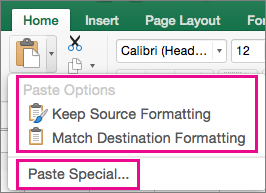 Поставяне на меню, показващо опции и специално поставяне