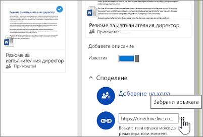 Екранна снимка на забраняването на връзка в екрана за подробни данни, за да се прекрати споделянето на елемент