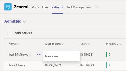 Изображение изобразява как да се премахне пациент в приложението за пациенти на Microsoft Teams