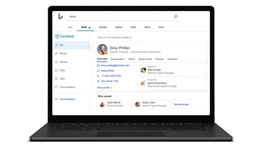 Лаптоп с показан екран за търсене на Microsoft.