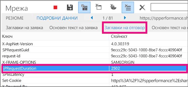 Екранна снимка, показваща искане за продължителност на 2502 ms