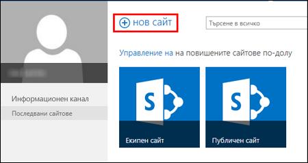 """Страницата """"Сайтове"""" в SharePoint Online, която показва бутона """"Нов сайт"""""""