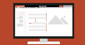Компютър, показващ презентация, която съдържа различни опции за форматиране на абзац