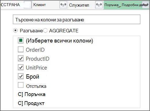Връзка за разгъване на таблицата Order_Details