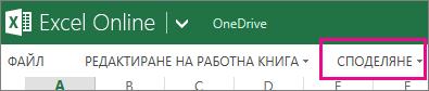 """Командата """"Споделяне"""" в лентата на Excel Online, в изглед за четене"""