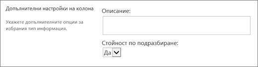 Възможности за избор за, да/не колона