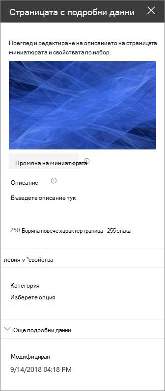 Екран с подробни данни за страницата