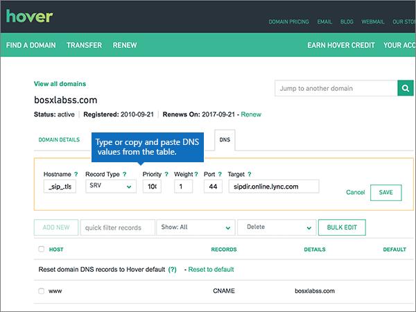 Въведете или копирайте и поставете стойностите на DNS записите