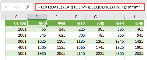 Използвайте SEQUENCE с TEXT, DATE, YEAR и TODAY, за да създадете динамичен списък на месеците за заглавния ред.