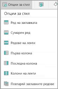 Опции за стил на таблица за Android