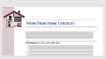 Шаблон за списък, който ви помага да определите дали работа от дома ще работи за вас
