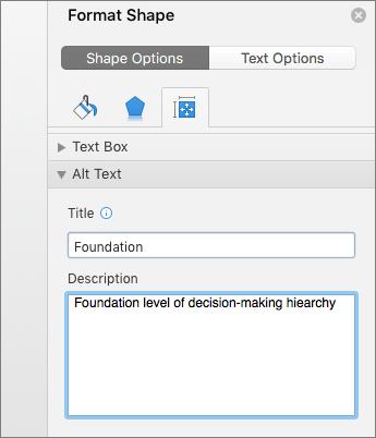 Екранна снимка на областта на алтернативен текст на екрана за форматиране на фигура, който описва на избраната фигура