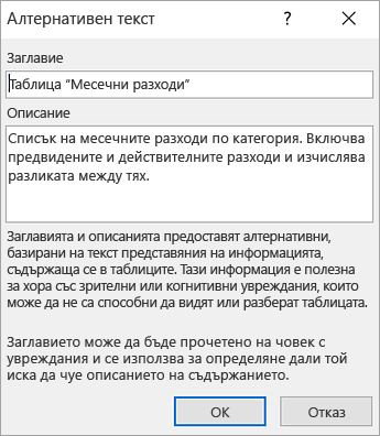 Екранна снимка на диалоговия прозорец за алтернативен текст