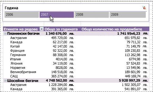 Сегментатор, показан в горния край на обобщена таблица