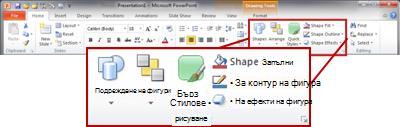 """Групата """"Рисуване"""" в раздела """"Начало"""" ма лентата на PowerPoint 2010."""