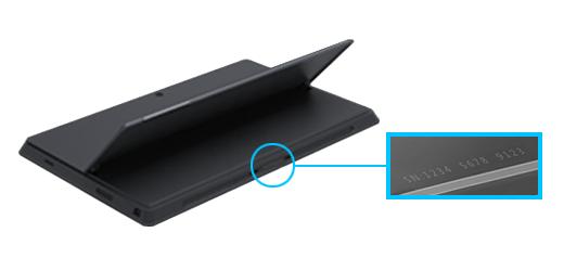 Показва серийния номер за Surface Pro долния ръб, под стойката.