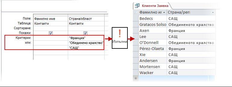 Използване на критерий OR в изглед за проектиране и в резултатите
