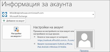 Екранна снимка, която показва страница с информация за акаунт за Outlook в изгледа Backstage.