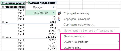 Опции на филтриране за данни от обобщена таблица