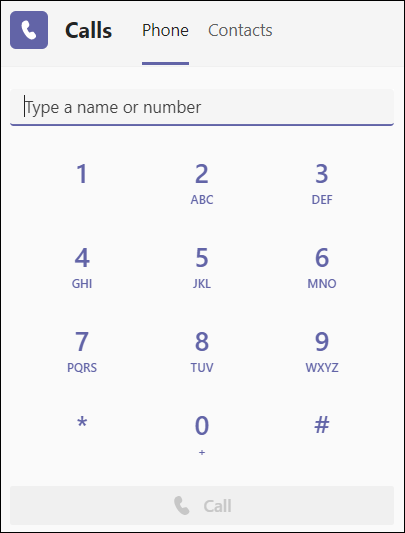 Teams клавиатура за набиране -simple