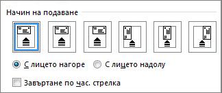 Диаграма на опциите за подаване на пликове в принтера